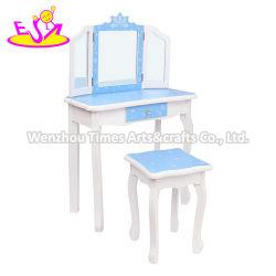 Sur la vente d'enfants coiffeuse en bois bleu ensemble avec miroir W08H126c
