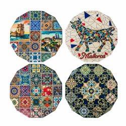 Telha cerâmica//Capa e calça Porcelein Coaster Dodecagon Shape 15cm para Dom Loja Promoção itens com tamanho diferente de boa qualidade de madeira macia na parte traseira