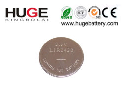 3.6V Rechargeable High Capacity Lithium Li-Ion Button Cell Lir2430