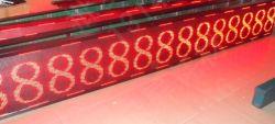 Mensaje de texto de color rojo, pantalla LED con parada de bus