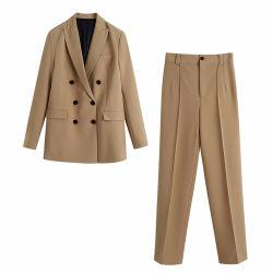 Donna tuta da ufficio stile euramericano Doppia tuta con Pantaloni dritti a vita alta