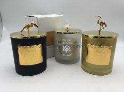 400ml de Gebemerkte Kaarsen van de Eucalyptus van de luxe Glas met Gouden Deksel voor de Geur van het Huis