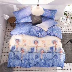 La literie d'accueil jeu de feuilles à plat 4PCS coeur rouge le linge de lit défini la feuille de couette Oreiller&Set oiseau mignon enfant cache