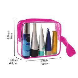 PVC Sac cosmétique, commerce de gros de la Chine usine personnaliser Ziplock carrés de voyage transparent en PVC de couleur rose pochette de toilette Sac cadeau d'emballage cosmétique maquillage avec poignée