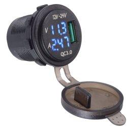 Toma de cargador USB 3.0 Toma de corriente con el azul del Amperímetro y voltímetro digital Control de Alquiler de Barco Marine