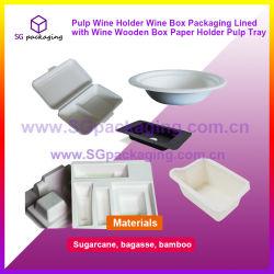 Вино мякоти держатель вино в салоне упаковки с вином в деревянном держатель бумаги лоток для мякоти