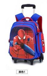 Carro de la escuela infantil de dibujos animados para niños Mochila mochila con ruedas estudiante Mochilas Bolsas bolsas Mochila Infantil Femi seis - Rueda de bolso doble escalera