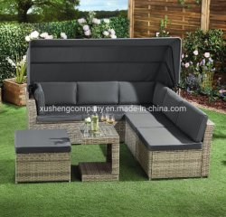 Mobilier extérieur canapé en rotin avec auvent