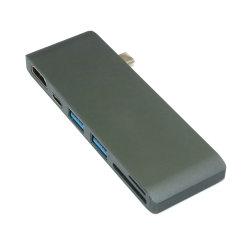 6 en 1 USB Adaptador USB Multi-Port Tipo C C Combo 4K de cubo de salida HDMI+USB-puerto C +2 puertos USB 3.0+SD y Micro SD/TF Card Reader para MacBook Pro.