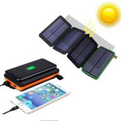 Carregador sem fio de alta qualidade Solar Dobrável carregador para telemóvel e Potência portátil com LED