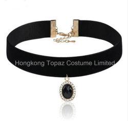 Gema de acrílico negro de terciopelo Colgante Collar Collar Gargantilla de cristal con incrustaciones de la cadena para la Mujer (EN01).