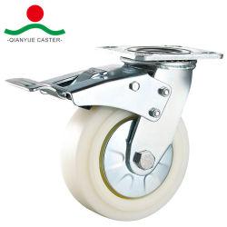 5-дюймовый поворотный для тяжелого режима работы с верхней части тормозной нейлоновые промышленных самоустанавливающегося колеса тележки самоустанавливающегося колеса