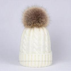 Меховые POM Poms Raccoon Beanie Red Hat