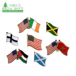 Metal de alta calidad Hard/Soft enamel Nacionales epoxi Irlanda Finlandia Jamaica Jordania Marruecos dos banderas Bandera Insignia Insignia de solapa para evento reunión