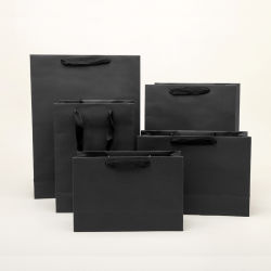 Violet Gold l'Estampage de gros sac de papier noir Logo personnalisé en vrac