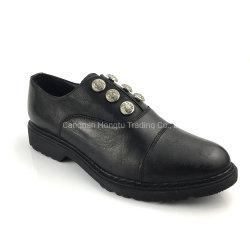 ストラップレスのオックスフォードは女性革靴の女性の平らな服靴に蹄鉄を打つ