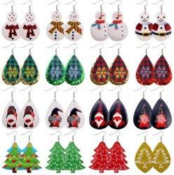 Cuero de Moda Pendientes del árbol de Navidad muñeco de nieve caída cuelgue pendientes