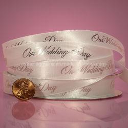 Boda impresa cinta de satén para decoración de bodas (AM-SR048)