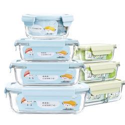 Un insieme della cucina di memoria pieghevole dell'alimento dei 4 di vetro del pasto della preparazione di alimento contenitori dell'imballaggio