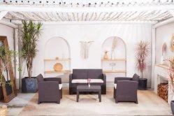 El Lujo moderno de plástico de la moda tejida de Rattan muebles jardín Muebles sofá