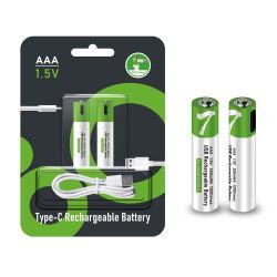 タイプC USBの再充電AA電池1.5V AAAの再充電可能なリチウムイオン電池1600mAh 450mAh再使用可能な4 6タイプC USBが付いている5パック電池