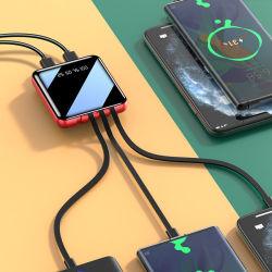 O novo Mini Barata Banco de potência 20000 mAh visor digital portátil mini bancos de energia vem com cabos tipo de micro-C