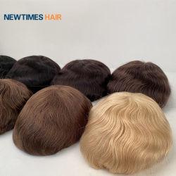 Stock onmiddellijke verzending 0.03 Ultra Thin Base Skin Haarstukken Inidan Menselijk haar mannen′ S Toupee