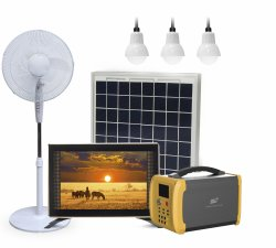 نظام مولد الطاقة الشمسية الصغير المزود ببنك طاقة ذو لوحة شمسية راديو FM مع سماعة Bluetooth TF&بطاقة USB تشغيل مصباح وامض للمنزل