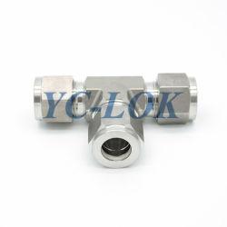 تركيبات الأنبوب الهيدروليكي ذات الضغط على شكل حرف T YC-Lok SS مع حلقات القطع