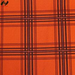 Tejido de punto tricot en color naranja vestido de impresión de la banda de tejido de costilla