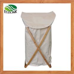 Tissu d'Oxford Panier à linge avec châssis de bambou/ Sac à linge sale