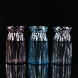 Commerce de gros bon marché de gros de l'Art de la Verrerie de hauteur décorées de couleur Vase en verre gris