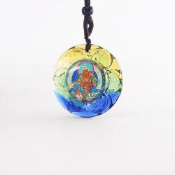Hot vendre Crystal jaune symbole bouddhiste Jambhala Collier avec chaîne de corde réglable pour le tibétain Necklace