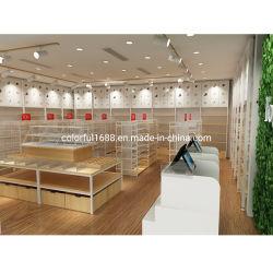 주문 Miniso 작풍 2020 대중적인 나무로 되는 소매점 전시 선반설치 시스템 벽 선반 선반을 뜨는 편리한 상점 선반