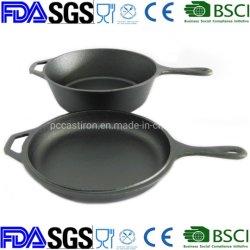 Preseaseond double utilisation casserole avec poêle en fonte couvercle cuisinière Combo