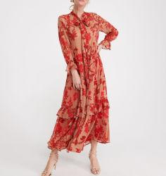 Sommer-Abnützung-Strand-Feiertags-Blatt-Druck-Chiffon- Gewebe-Dame-Maxi langes Kleid für Frauen
