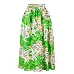 La mujer impresión verde de la tribu de la moda África Maxi falda larga