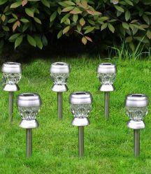 Оформление в Саду из нержавеющей стали солнечной лужайке лампа водонепроницаемый двор патио подъездная дорожка пейзаж, для использования вне помещений светодиодные лампы в саду солнечной энергии