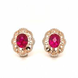 925 Silver 14K or 18K Fashion Earring avec pierre de couleur