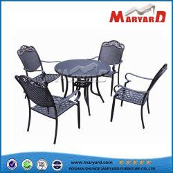 Mobiliário em alumínio fundido com mesa de jantar ao ar livre e cadeira móveis domésticos Mobiliário de Jardim Hotel mesa de jantar e cadeira definido