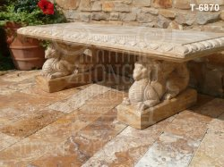 Banco de jardim de pedra esculpida em mármore com Dragon
