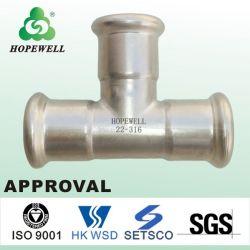 Hochwertiges Inox, das gesundheitlichen Edelstahl 304 316 Presse-passendes Rohrfitting-Exzenterreduzierstück plombiert, schreibt Rohrleitunggi-Rohrfitting-Rohrfitting-T-Stück