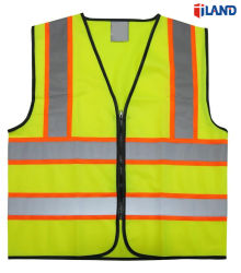 ANSI Vest van de Veiligheid van de Band van de Stof van het Zicht van Normen het Hoge Fluorescente Gebreide Weerspiegelende