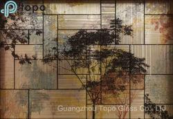 De tamaño irregular Hot-Melt mosaico de vidrio en la Gran Muralla de la pintura de vidrio (PG-TP008)