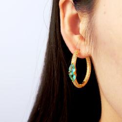 工場女性のための卸し売り純銀製または黄銅の方法宝石類の異なった着色されたたがのイヤリング