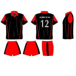 De nieuwe Ontwerp Gesublimeerde Uniformen van het Voetbal van de Jongen Rode Zwarte