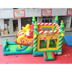 Christmas Tree Snowman Air Jump House Kinder spielen eine aufblasbare Combo mit Slide