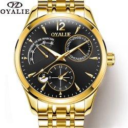人Relogio Masculinoのための金の黒い普及したブランドの自動腕時計
