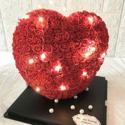 Gomma piuma Rosa del cuore di amore del fiore della Rosa 35cm per i regali del biglietto di S. Valentino 2021 donna