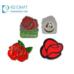 Custom Rose Fleur Clip Brooch Pin d'un insigne d'écharpe Expoyed Fleur de goupilles de sécurité des hommes de gros de l'émail doux Épinglette pour les vêtements